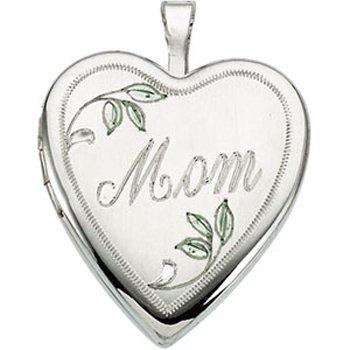 Sterling Silver Heart Mom Locket