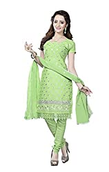Minu Suits Cotton Unstiched Dress Material New Green