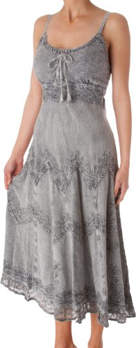 AA4012 - Stonewashed Rayon Embroidered Adjustable Spaghetti Straps Long Dress ( Various Colors & Sizes ) - Gray/S/M