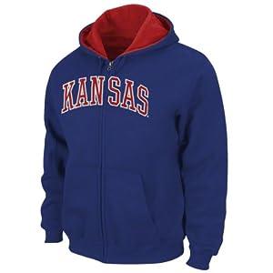 Kansas Jayhawks Royal Tackle Twill Full Zip Hooded Sweatshirt by Genuine Stuff