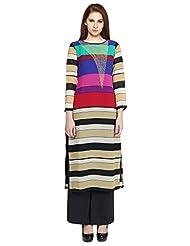 Fashion205 Women's Embroidered Straight Long Kurti