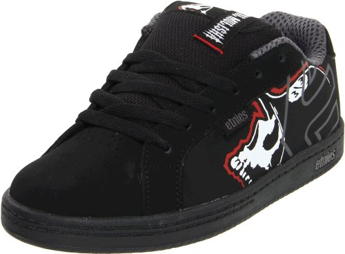 Etnies Metal Mulisha Fader Black/Black/Red Fashion Sports Skate Shoe 4307000060 2 UK Junior, 3 US