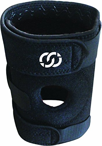 Knee Brace By Compressions – Adjustable Velcro Open Patella Neoprene Knee Support Brace with Spring Steel Side Stays – 100% Money Back Guarantee – For Men and Women – Great Compression for Arthritis, ACL, and Meniscus Tears – For Basketball, Crossfit, Running, Skiing, Tennis and Volleyball – 1 Black Brace