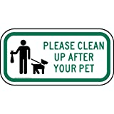 ComplianceSigns Aluminum Pets / Pet Waste sign, Reflective 12 x 6 in. with Pet Rules info in English, White