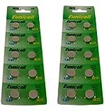 Eunicell 20 Batteries Blister pack AG13, G13, SR44, LR44, A76, V13GA, PX76A, 357