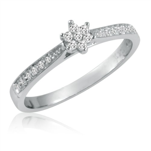 10K White Gold Diamond Starburst Promise Ring (Available Sizes 5 to 7)
