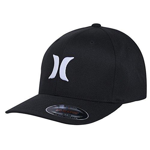 hurley-one-only-mens-baseball-cap-flexfit-black-black-white-sizes-m