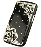 OOOUSE 3D Black Bling Crystal Rhinestone Flower Case Cover Skin for Samsung Galaxy S3 SIII i9300 with Screen Protector & Stylus & Cleaning cloth
