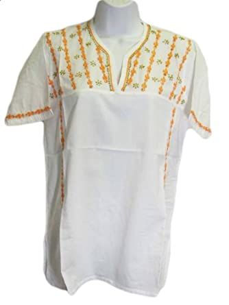 Womens Hand Embroidered Gauze Cotton Tunic Short Sleeve Top (Plus, White/Peach)