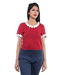 Avakasa Poly Georgette Red Tops (ctop-10-red)