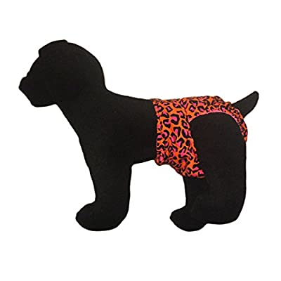 Barkerwear Dog Diaper - Orange Hot Pink Leopard Washable Cover-up / Diaper for Incontinence, Housetraining and Dogs in Heat