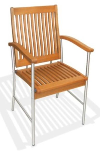 royalcraft SSC-12 Langkawi Garden Furniture Armchair Wood Chair with Stainless Steel Legs