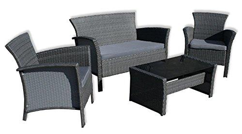 """KMH®, 4 Teilige Gartensitzgruppe """"Remy"""" (2 Gartensessel, 1 Zweisitzer und ein Tisch mit Glasplatte) (#106002) günstig"""