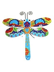 Metal Wall Art Sculpture Talavera Style Blue Daisy Dragonfly