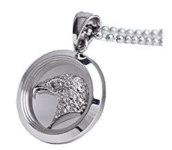 New Fashion Silver Roaring Eagle Ring Stainless Steel Pen Drive Pendant for Necklace Charms Jewelry Personality Gift in a Nice Box from GFTC