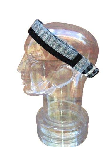 Small Black White Gray Headband Expandable Handwoven Bandana Elastic 100% Cotton Hair Band Scarf front-451325