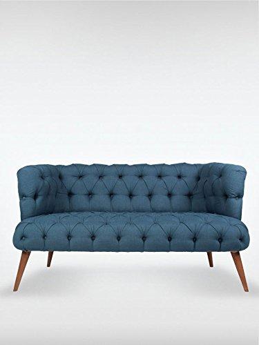 2-Sitzer Vintage Sofa Couch-Garnitur Palo Alto blau 140 cm x 76 cm x 75 cm