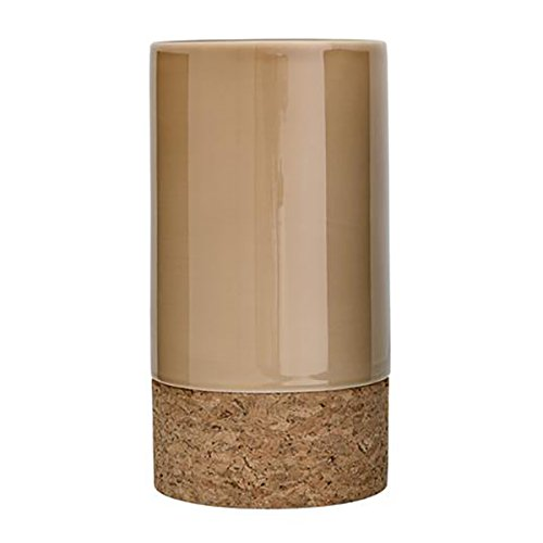 Bloomingville Vase, Glossy Beige mit Kork Ø13xH24 cm