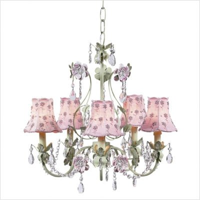 Flower Garden Chandelier with Pink Daisy Pearl Shade in Pink/Green