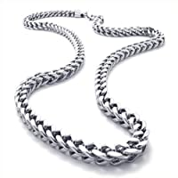 Konov Jewellery Mechanic Style Stainless Steel Mens Necklace Link Chain, Colour Silver, Length 56cm 22 inch by Pin Zhen
