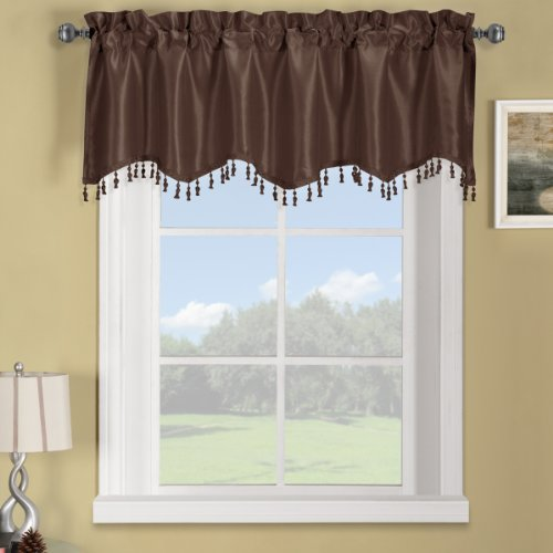 Luxury Soho Chocolate-Brown Straight Valance, Solid Pattern, 70X17 Inches, By Royal Hotel front-1078324