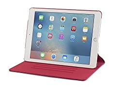 iPad Pro 9.7 Case, DEVICEWEAR Ridge - Thin Red Vegan Leather, 6 Position Flip Stand, Magnetic On/Off Switch for Apple iPad Air 3 / iPad Pro 9.7 inch