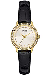 GUESS Women's Glamorous Leather Gold-Tone Watch