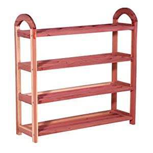 Household Essentials CedarFresh 4-Tier Cedar Shoe Rack