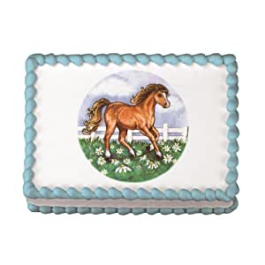 Edible Cake Images Horses : Edible Horse In Field Cake Decal (1 pc): Amazon.com ...