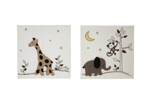 Nojo Dreamy Nights 2 Piece Appliqued Canvas Wall Decor