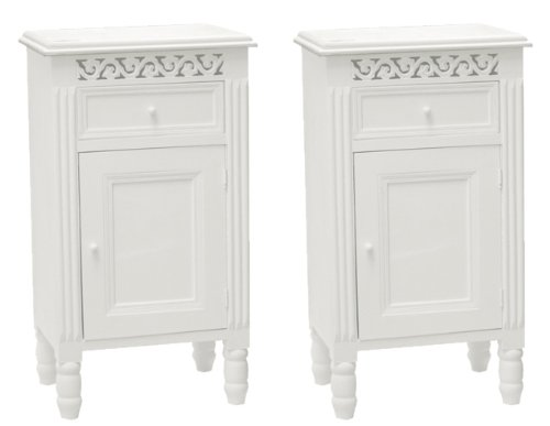 Pair of Belgravia Shabby Chic White One Drawer Bedside Cabinets