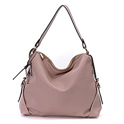 DDDH Fashion Women's PU Leather 3 Ways Hobo Shoulder Cross-body Tote Top Handle Handbag With Removable Straps(Pink)