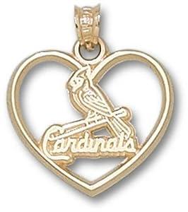 St. Louis Cardinals 10K Gold One Bird Heart Pendant by Logo Art