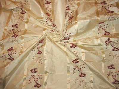 Velvet Embroidered Silk Taffeta - ROSE OF TRALEE COLLECTION - Ivory