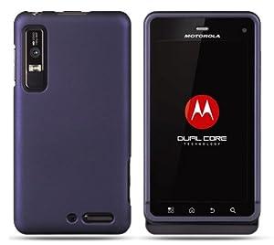 "Dark Purple Motorola Droid 3 Rubber Touch Premium Design Hard Cover Case + Bonus 5.5"" Baby Blue Screen Cleaning Cloth"