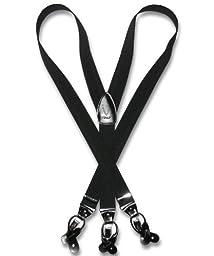 Vesuvio Napoli Mens Y-Back Button & Clip Convertible Suspenders (Black)