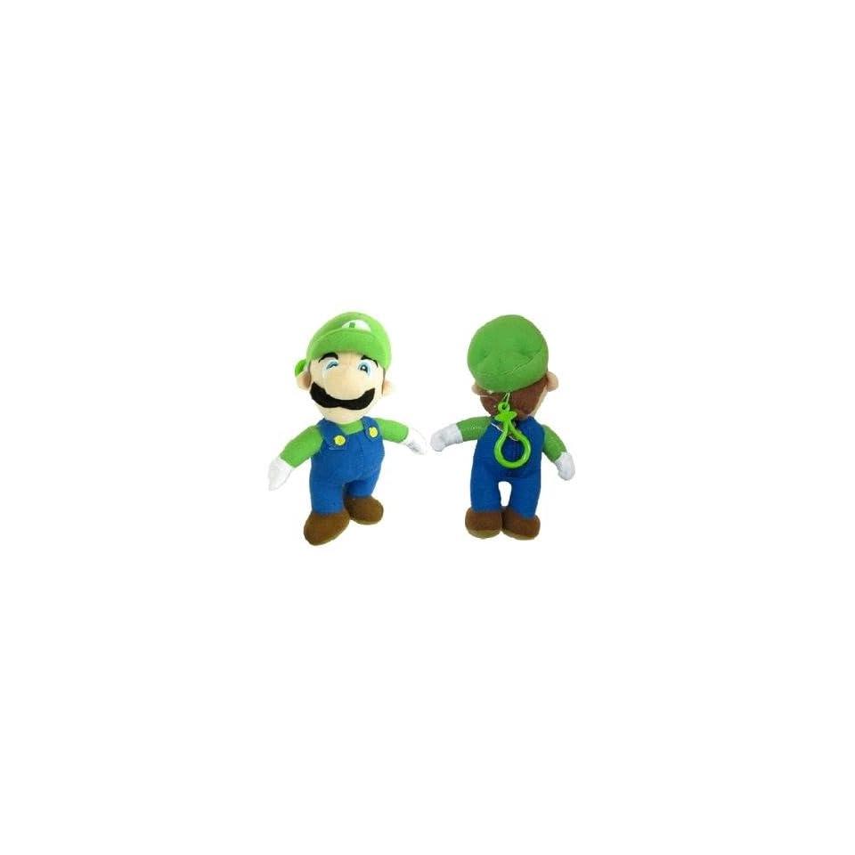 Nintendo Super Mario (Luigi) Plush Doll 7 Coin Bag with Clip Keychain Holder