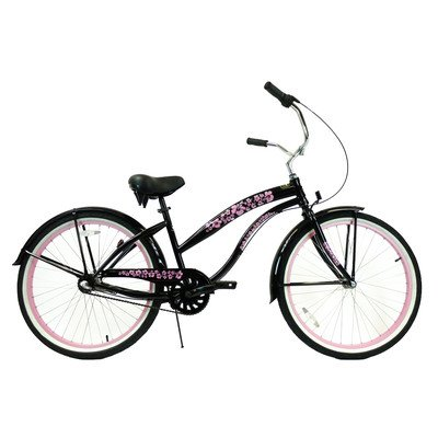 Women's 3-Speed Premium Beach Cruiser Frame Color: Black Pink