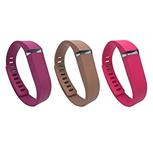 i-smile® 3PCS Replacement Bands with Metal Clasps for Fitbit Flex (Plum&Coffee&Rose, Small)