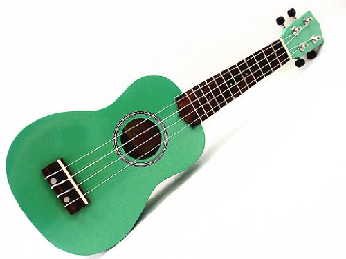 Beautiful Wooden Green with Round Hole 21' Soprano Ukulele/rosewood Fingerboard & Bridge