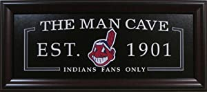 Man Cave Framed Sign Deluxe - Cleveland Indians by MLB_ManCave