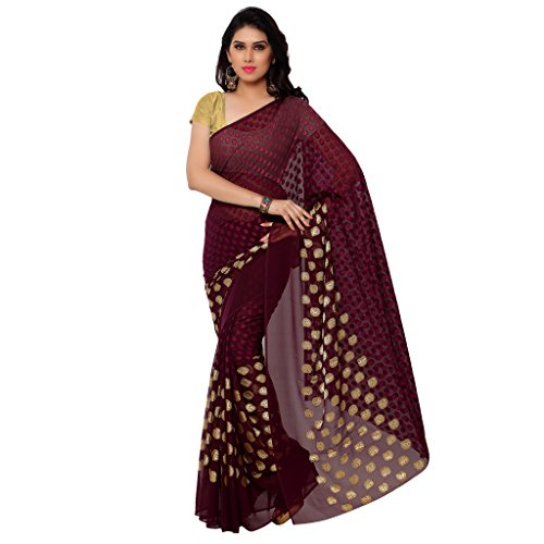 GL Sarees Casual Plain Solid Maroon And Chocolate Jacquard Butta Work Saree For Women