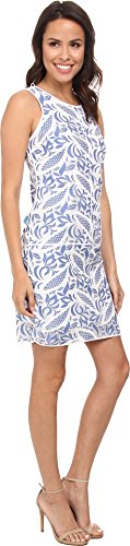 B00S2CM6V4 Adrianna Papell Women's Printed Lace Tank Dress, Spring Blue, 14