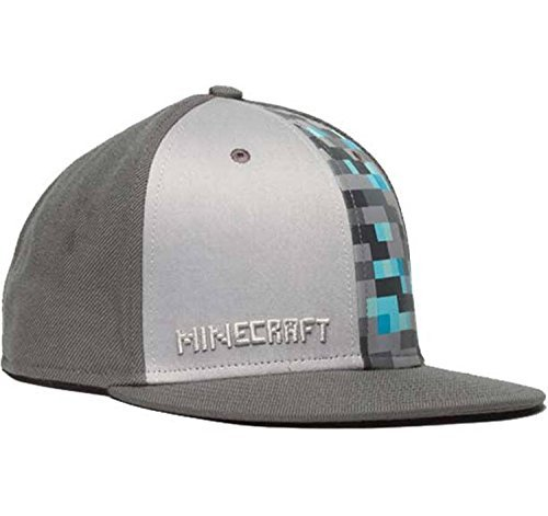 Official Licensed Minecraft Diamond Crafting Premium Snap Back Hat, Grey - One Size Fits All