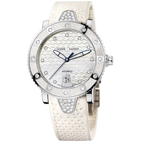New Ladies Ulysse Nardin Lady Marine Diver Diamonds White Watch 8103-101E-3C/10