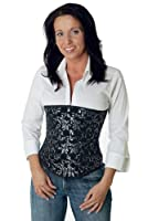 Steel boned Corset Brocade Underbust Silver from fapedo