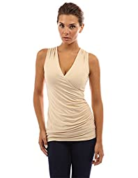 PattyBoutik Women\'s V Neck Ruched Side Tank Top (Beige S)