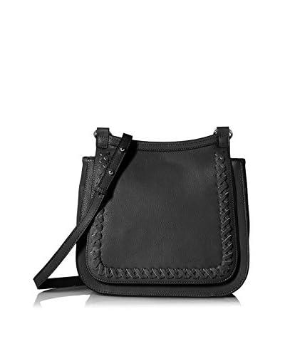 Possé Women's Lori Whipstitch Flap Saddle Bag, Black