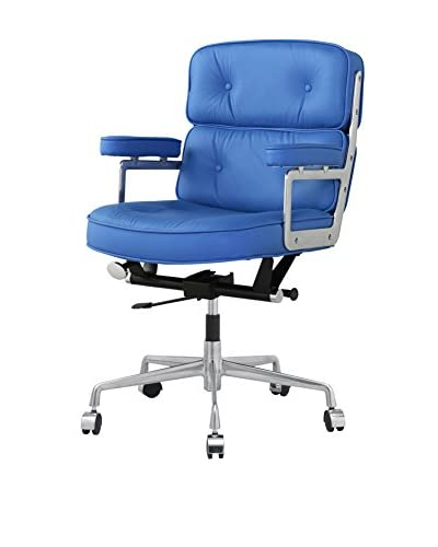 Meelano M340 Office Chair In Blue Italian Leather