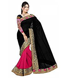 Shree fashion women's Top Fabrics semi stitched black GEORGETTE saree